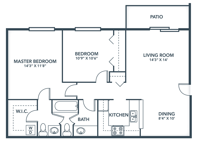 Floor Plans: 1 & 2 Bedroom Apartment Designs | Grays Pointe Apartments - Grays_Pointe_Floor_Plans-Fredrick